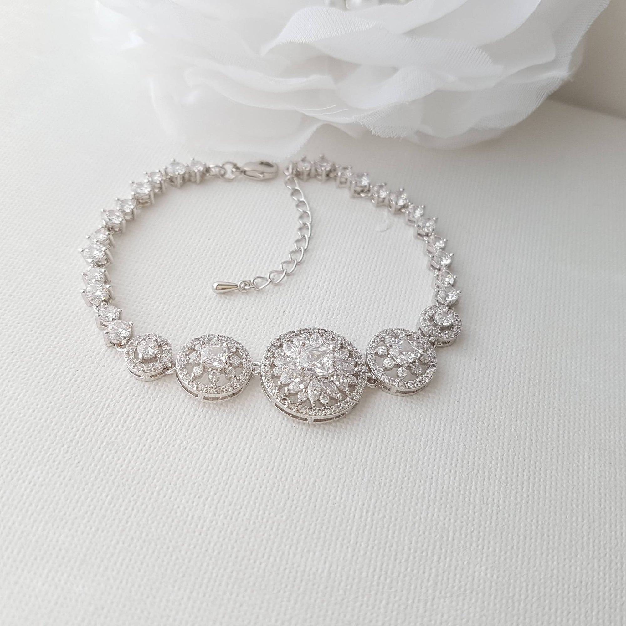 Bridal Bracelet, Round Wedding Bracelet, Crystal Wedding Bracelet, Cubic Zirconia Bracelet, Halo Style, Bridal Jewelry, Adonia - PoetryDesigns
