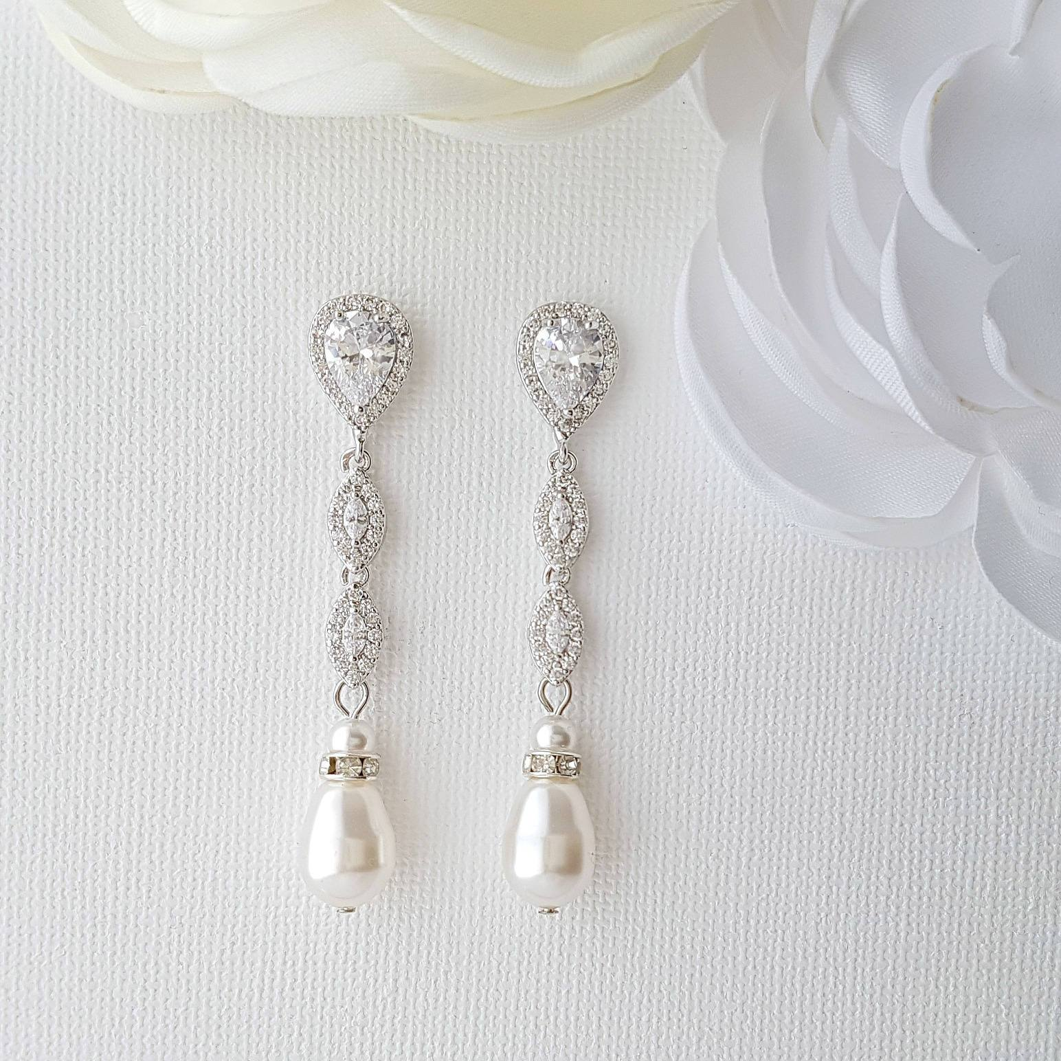 Silver Pearl Earrings-Abby - PoetryDesigns