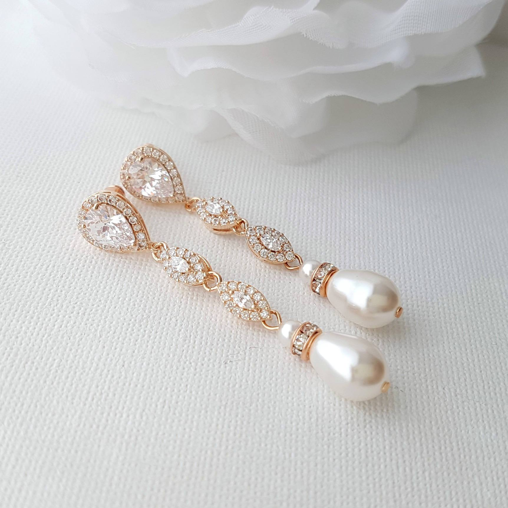 Rose Gold Pearl Earrings-Abby - PoetryDesigns