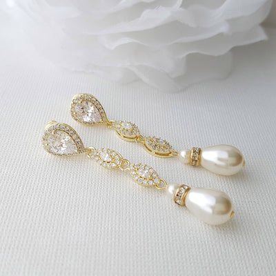 Gold Clip On Bridal Earrings Clip Wedding Earrings Long Earrings Rose Gold Crystal Earrings Pearl Drop Earrings Jewelry for Bride, Abby
