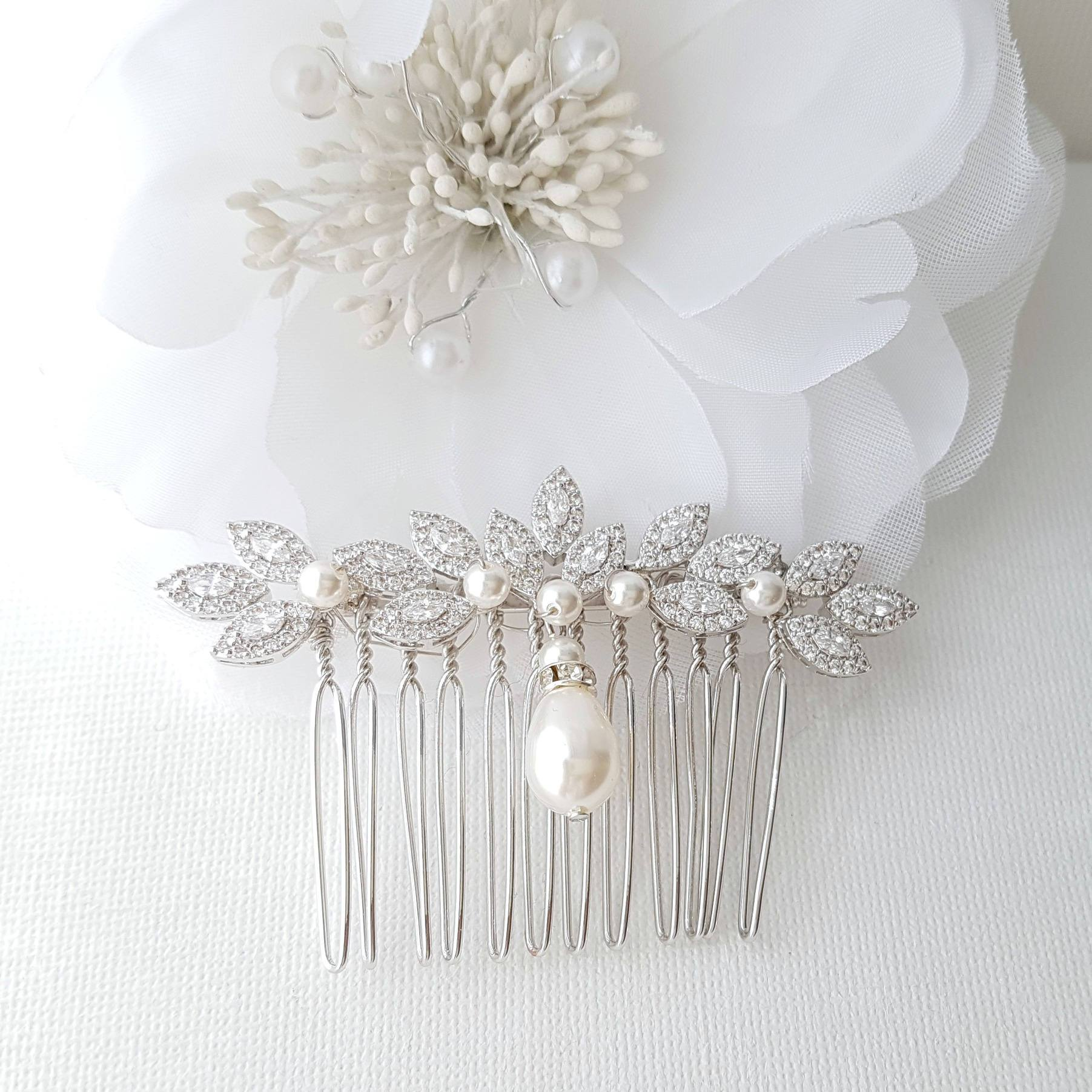 Crystal Hair Comb, Pearl Wedding Hair Comb, Leaf Haircomb, Zirconia Hair Comb, Swarovski Pearls, Bridal Hairpiece, Hair Accessories, Abby - PoetryDesigns