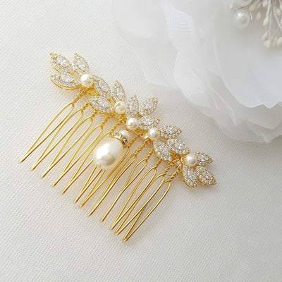 Gold Bridal Comb, Pearl Hair Comb, Rose Gold Wedding Hair Comb, Leaf Hairpiece, Crystal Hair Comb, Bridal Accessories, Abby