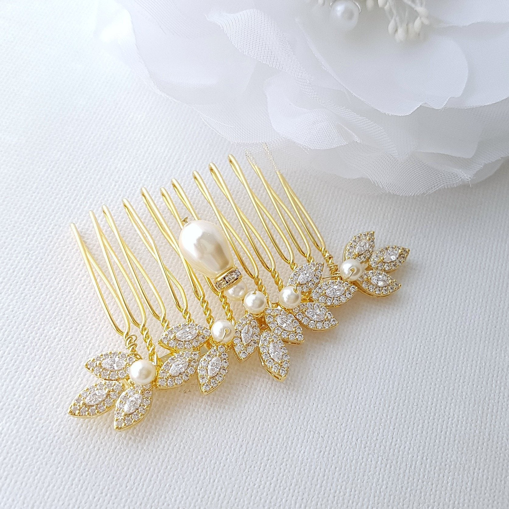 Gold Bridal Comb, Pearl Hair Comb, Rose Gold Wedding Hair Comb, Leaf Hairpiece, Crystal Hair Comb, Bridal Accessories, Abby - PoetryDesigns