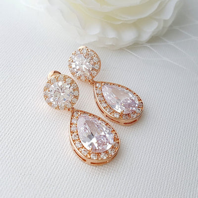 Wedding earrings in rose gold