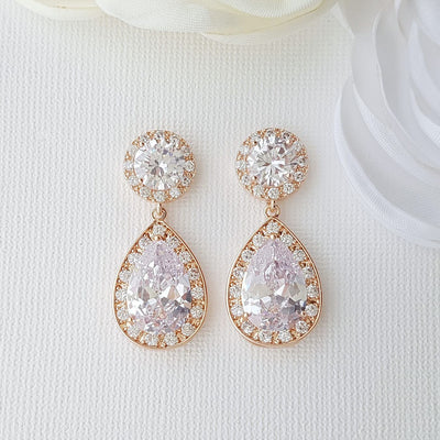 Rose gold wedding Earrings in Teardrop Cubic Zirconia