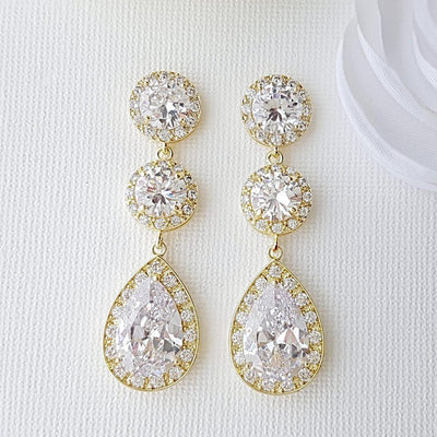Cubic Zirconia Gold Earrings