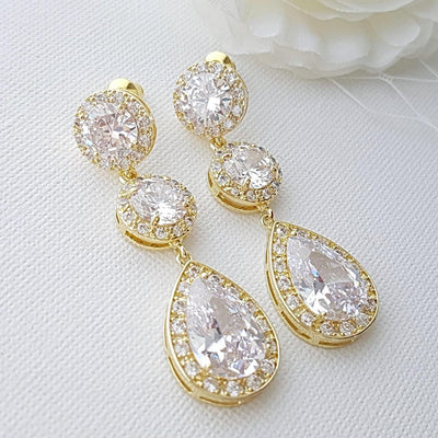 Sparkly Gold Bridal Earrings
