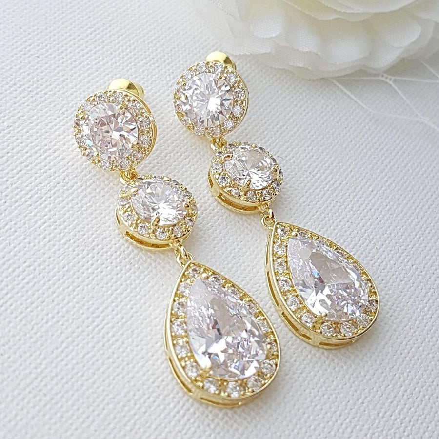 Cubic Zirconia Gold Earrings-Evita