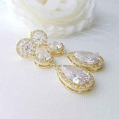 Gold Wedding Earrings in Cubic Zirconia