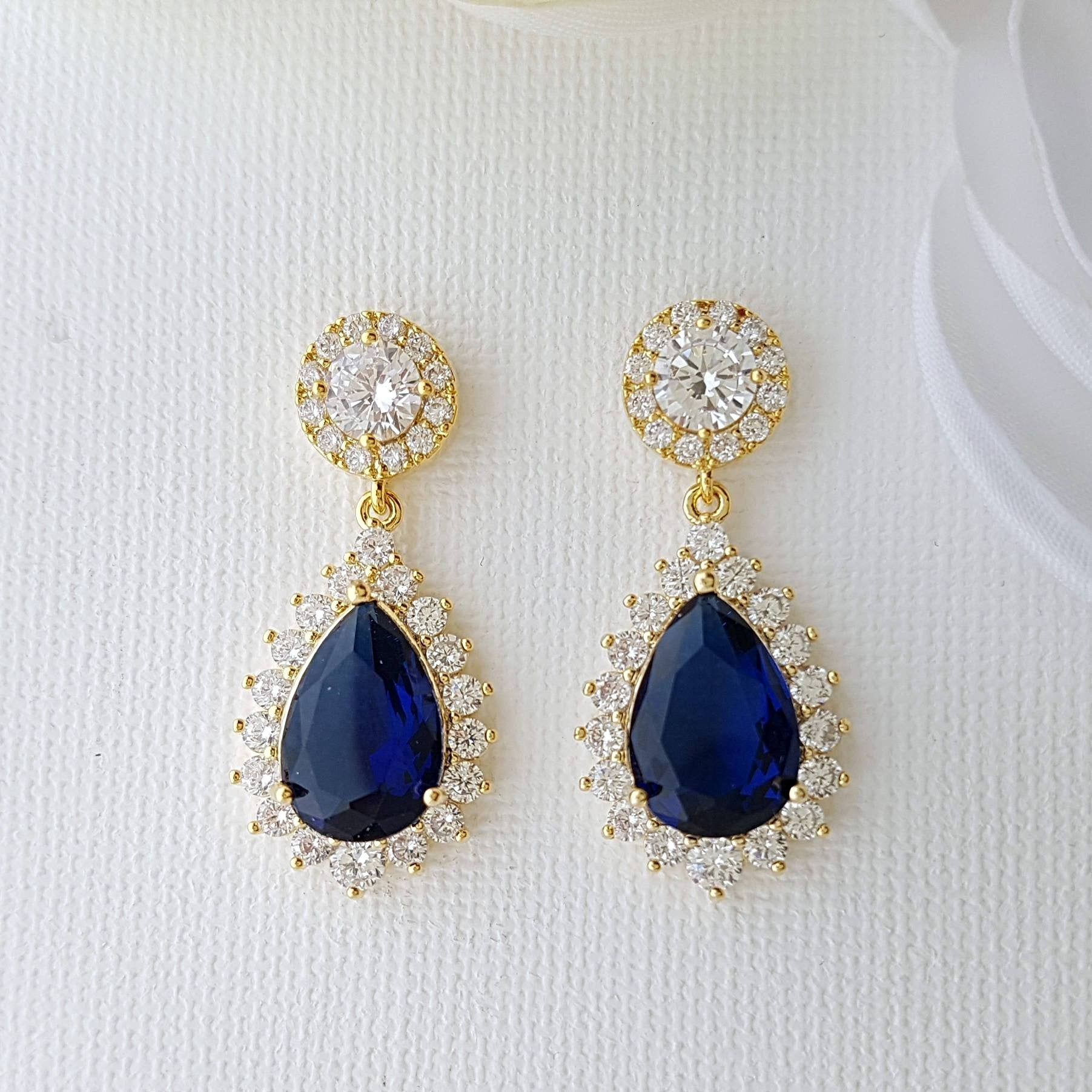Blue and Gold Earrings Aoi