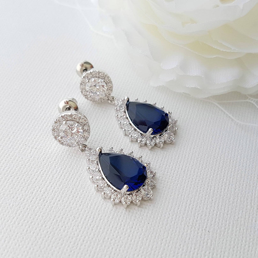 Blue Stone Earrings-Aoi