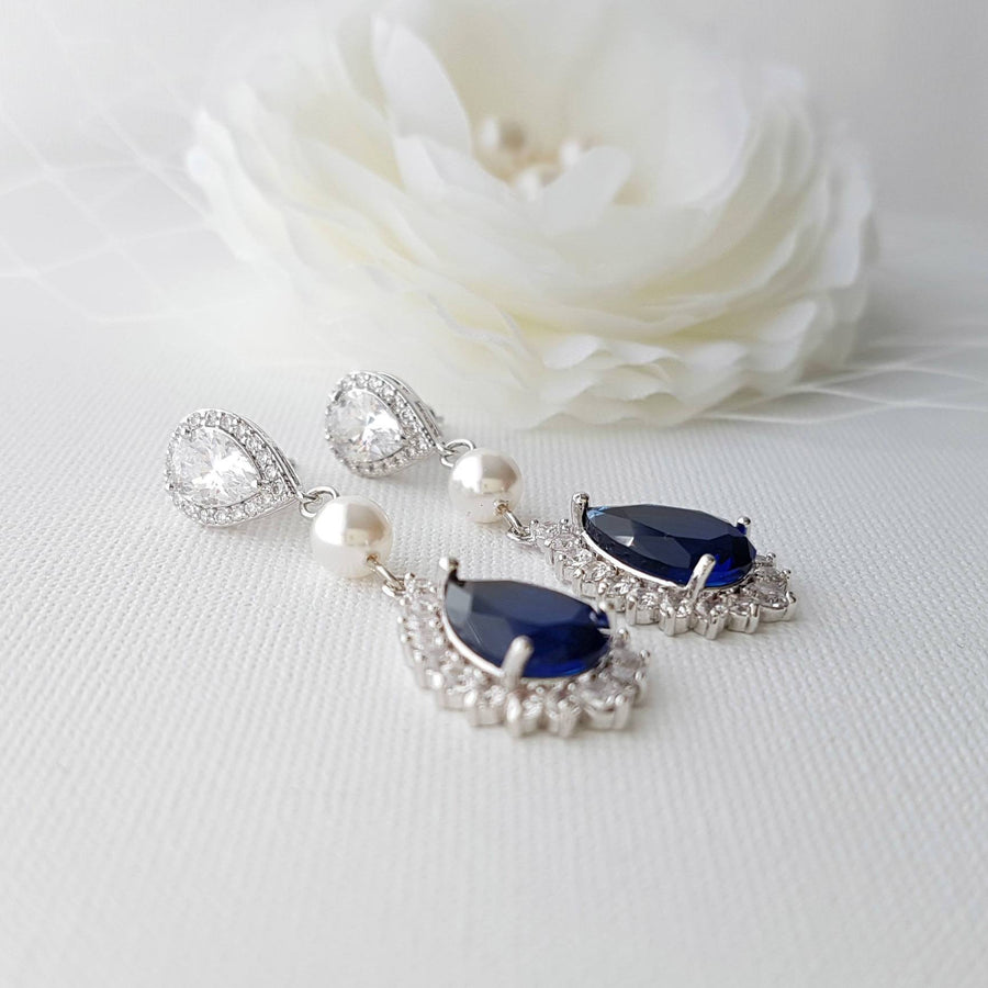 Blue Clip On Earrings-Aoi