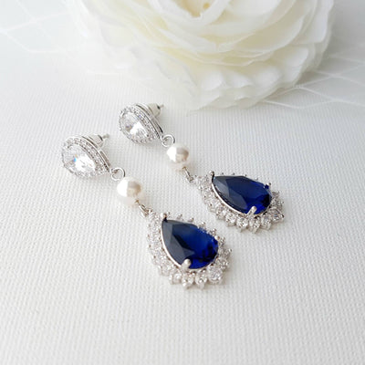 Blue and Pearl Drop Earrings