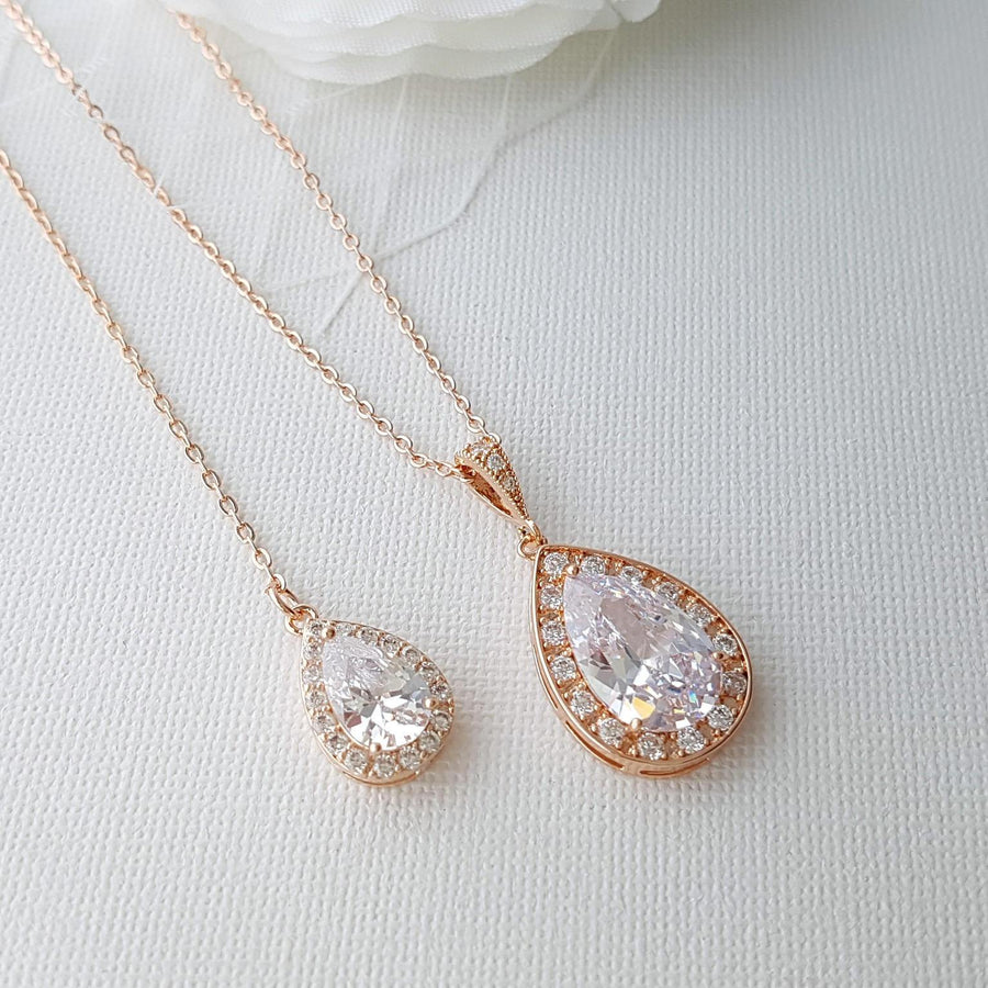 Rose Gold Simple Wedding Back Necklace, Crystal Backdrop Bridal Necklace, Bridesmaid Necklace Gift, Rose Gold Bridal Jewelry, Evelyn