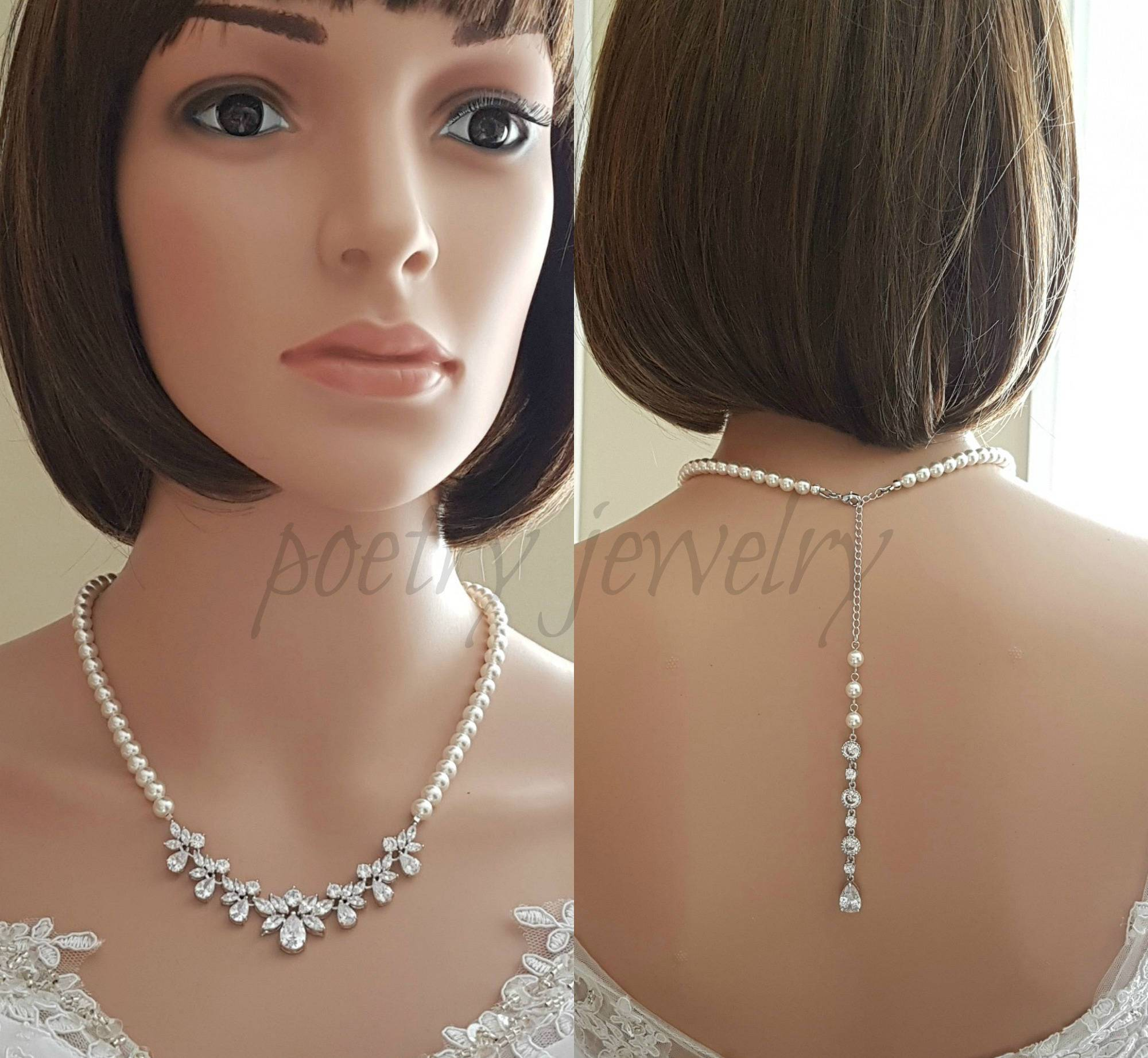 Back Bridal Necklace, Crystal and Pearl Wedding Necklace, Wedding Back Necklace, Necklace with Backdrop, Back Bridal Jewelry, Nicole - PoetryDesigns