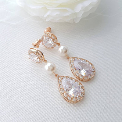 Rose gold Pearl and Crystal Wedding Earrings