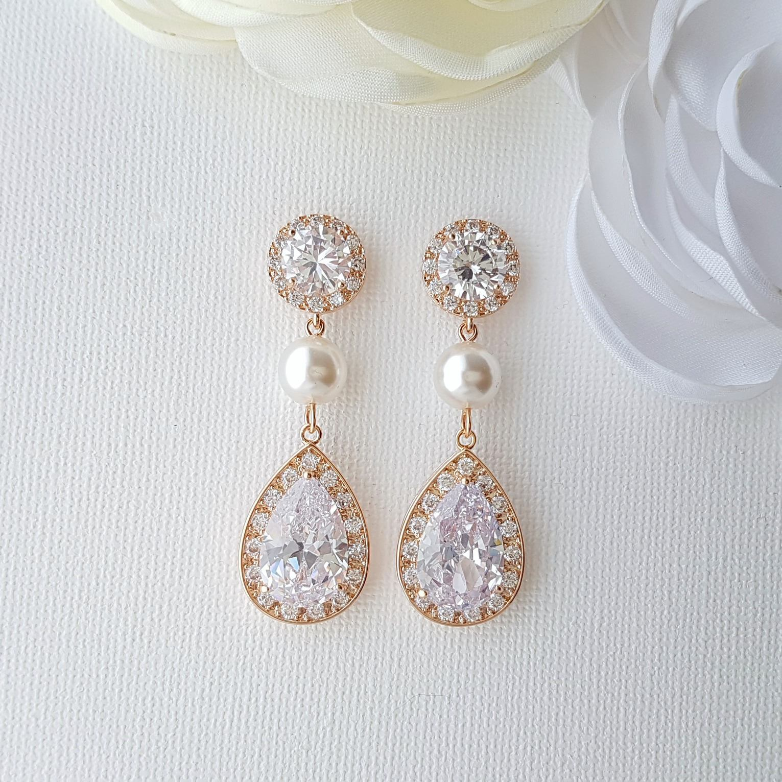 Rose Gold Crystal and Pearl Drop Earrings