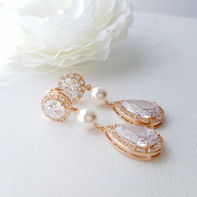 Crystal drop rose gold earrings with pearls