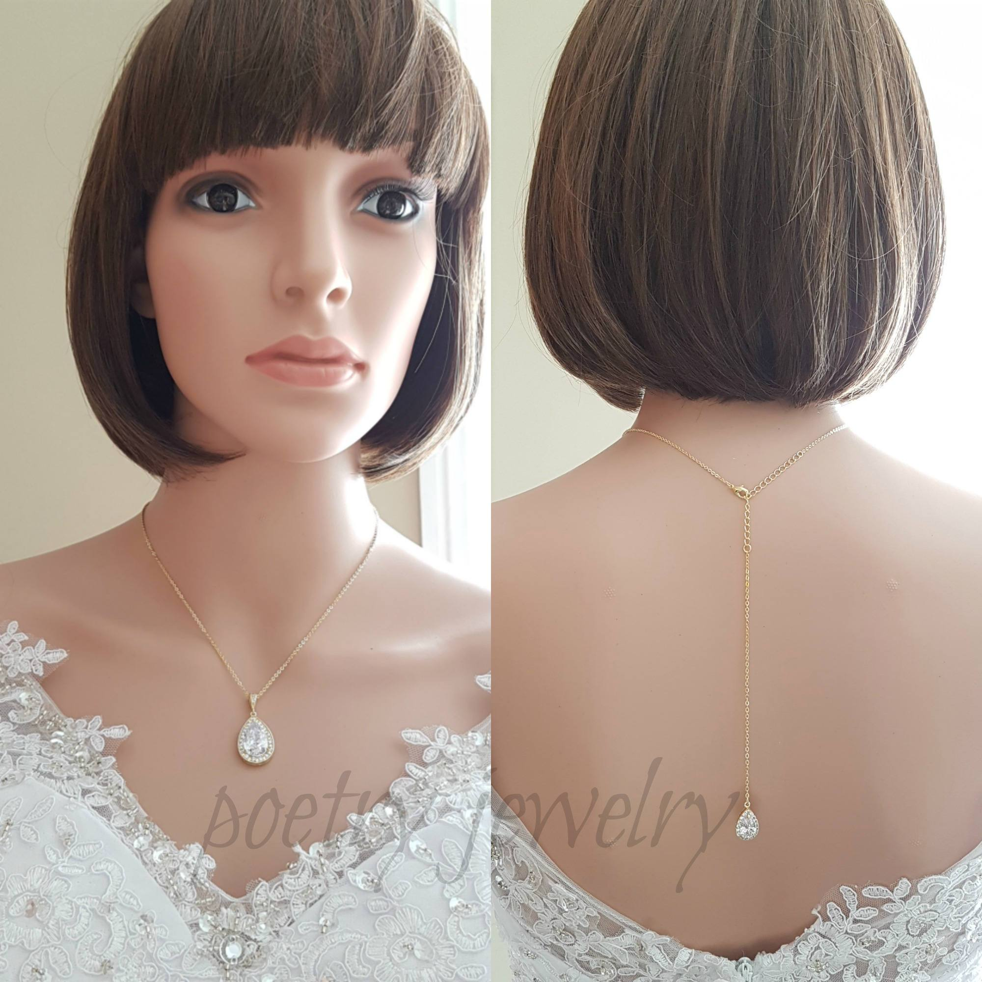 Simple Wedding Gold Back Necklace, Crystal Back Drop Bridal Necklace, Gold Bridesmaid Necklace Gift, Bridal Jewelry, Evelyn - PoetryDesigns