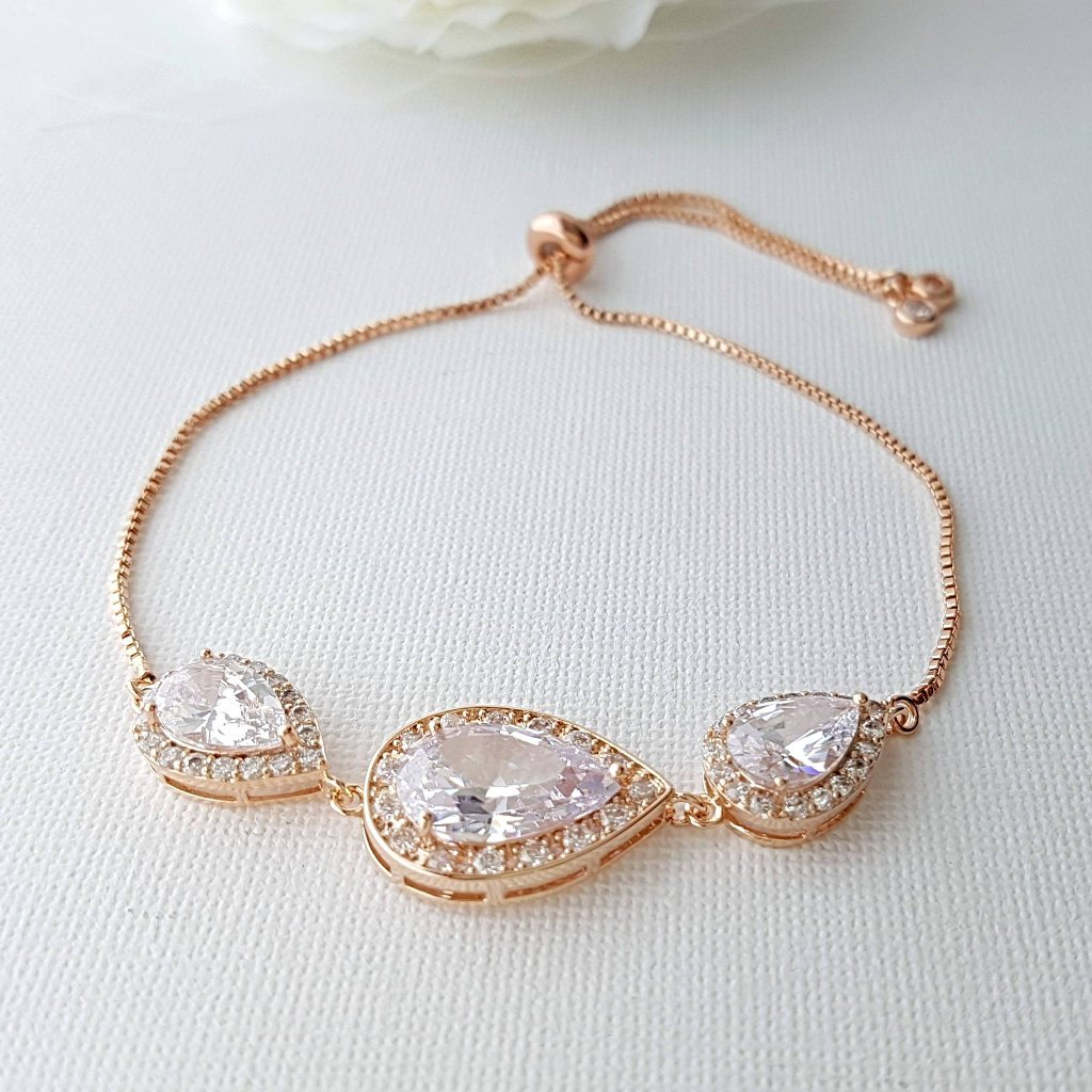 Bridal Bracelet, Rose Gold Crystal Bracelet, Wedding Jewelry, Clear Cubic Zirconia, Teardrop Bracelet, Pink Gold Bracelet, Evelyn - PoetryDesigns