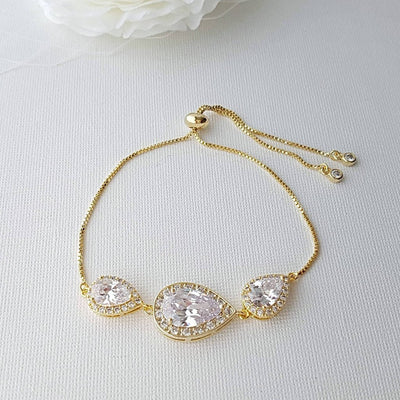 Bridal Bracelet, Rose Gold Crystal Bracelet, Wedding Jewelry, Clear Cubic Zirconia, Teardrop Bracelet, Pink Gold Bracelet, Evelyn