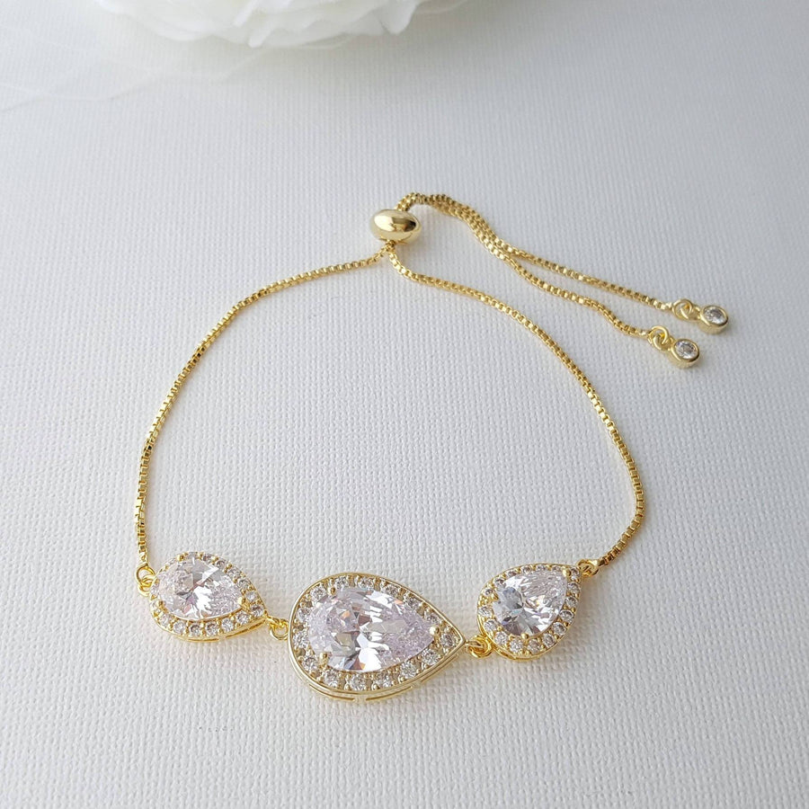 Gold Bridal Bracelet, Gold Wedding Jewelry, Gold Crystal Bracelet, Clear Cubic Zirconia, Gold Teardrop Bracelet, Bridesmaid Bracelet, Evelyn
