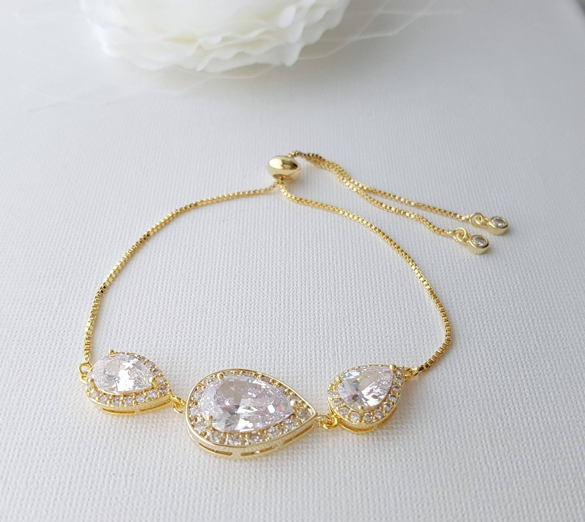 Gold Bridal Bracelet, Gold Wedding Jewelry, Gold Crystal Bracelet, Clear Cubic Zirconia, Gold Teardrop Bracelet, Bridesmaid Bracelet, Evelyn - PoetryDesigns