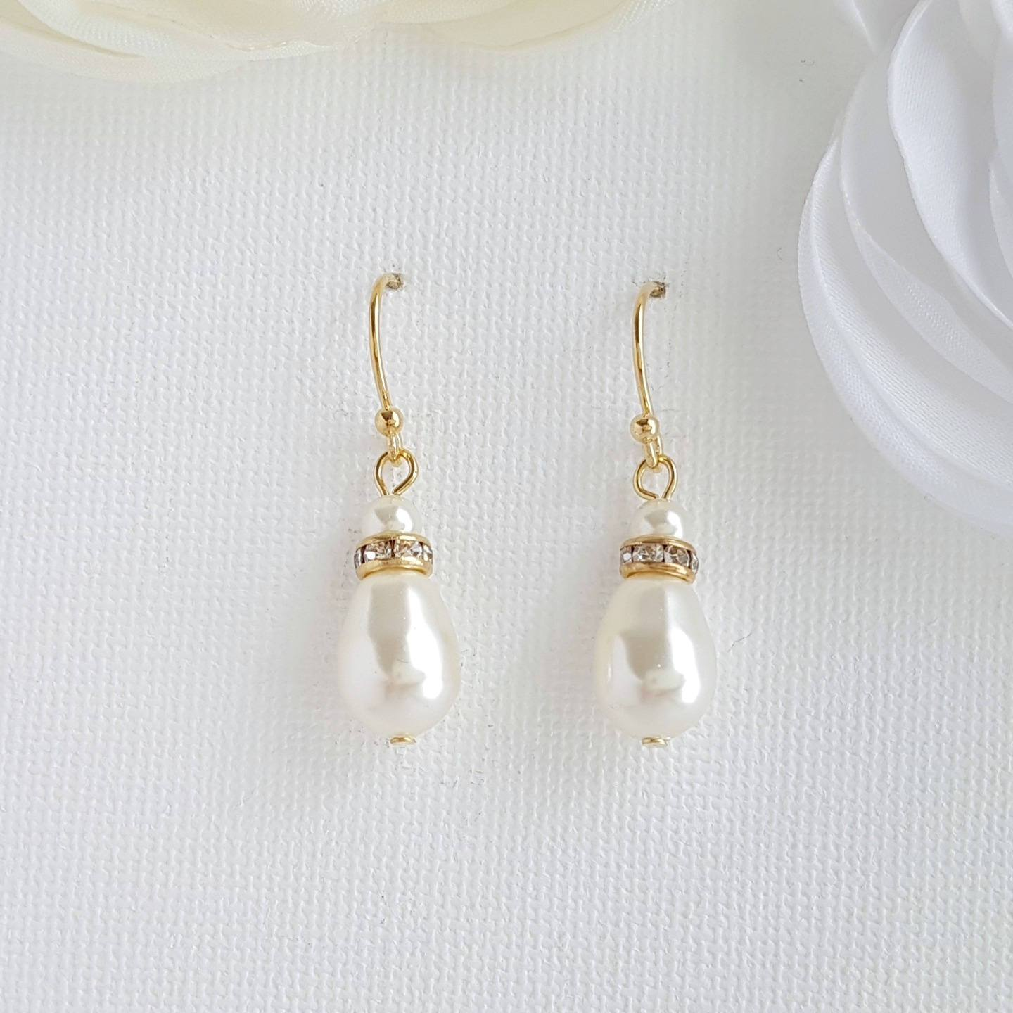 Simple Gold Earrings With Pearl Drops -June - PoetryDesigns