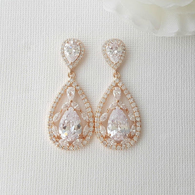 Wedding Rose Gold CLIP ON Earrings Crystal Bridal Earrings Gold Teardrop Earrings Wedding Earrings Non Pierced Ears Bridal Jewelry, Esther