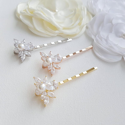 Rose Gold Wedding Hair Pins- Nicole