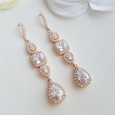 Cubic Zirconia Drop Earrings for Weddings- Gianna