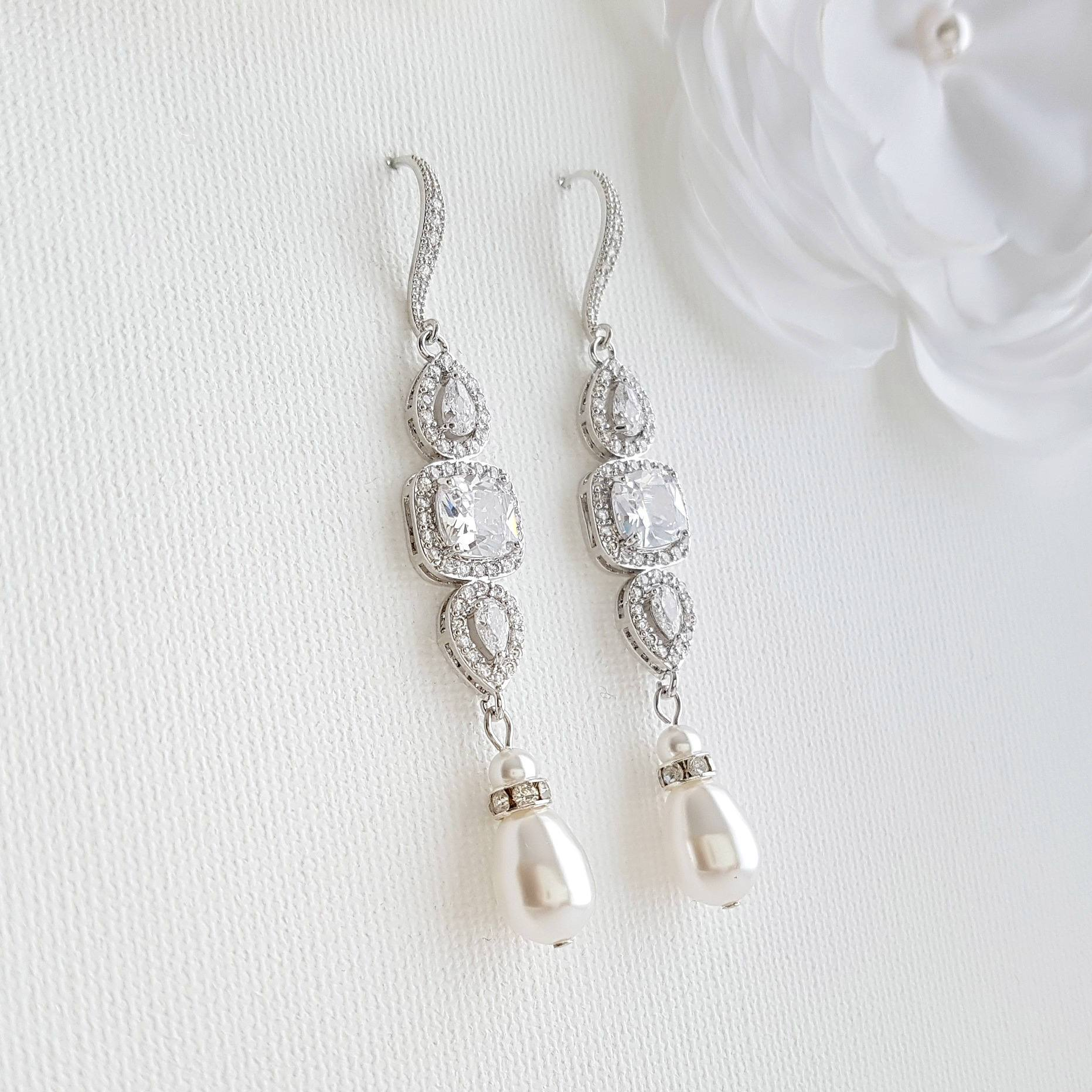 Pearl Drop Long Dangle Earrings for Weddings-Gianna - PoetryDesigns