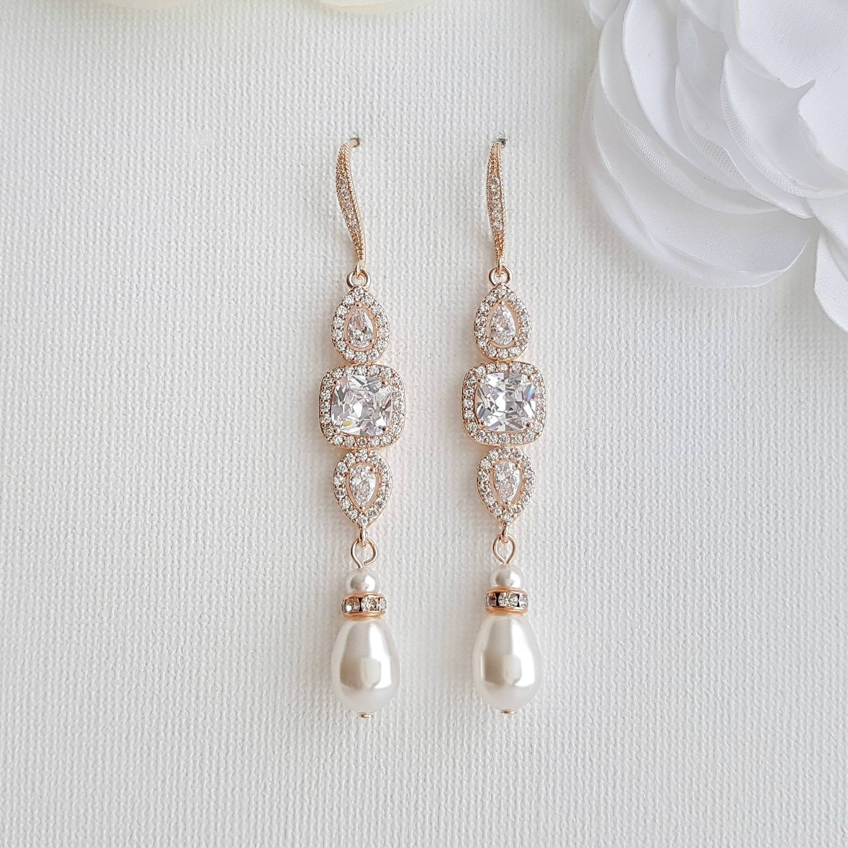 Rose Gold Pearl Drop Wedding Earrings-Gianna - PoetryDesigns