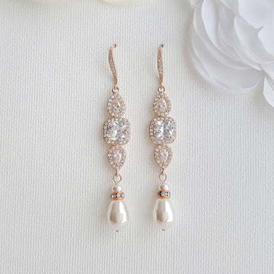 Rose Gold Pearl Drop Wedding Earrings-Gianna