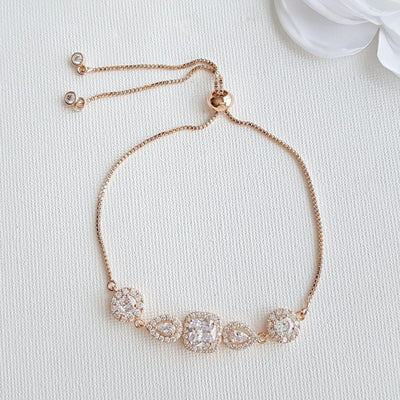 Gold & Crystal Bridal Bracelet- Gianna
