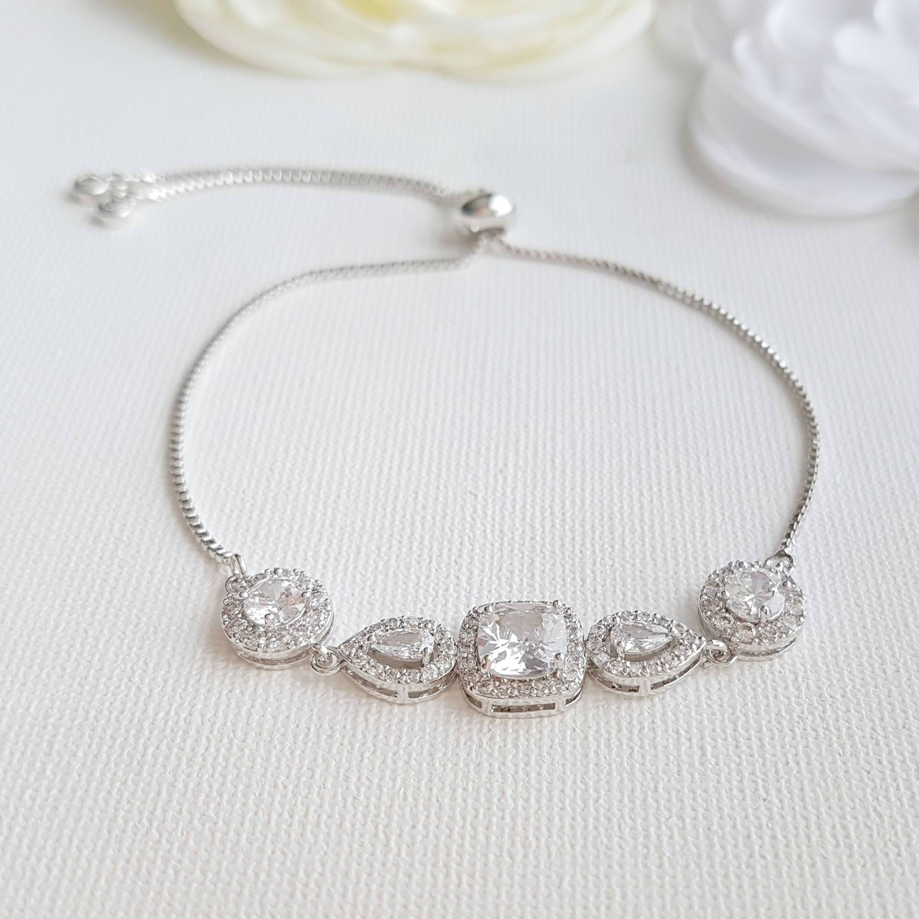 Cubic Zirconia Wedding Bracelet- Gianna - PoetryDesigns