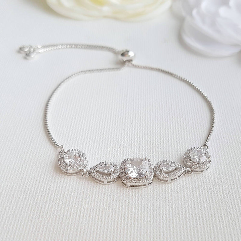 Cubic Zirconia Wedding Bracelet- Gianna