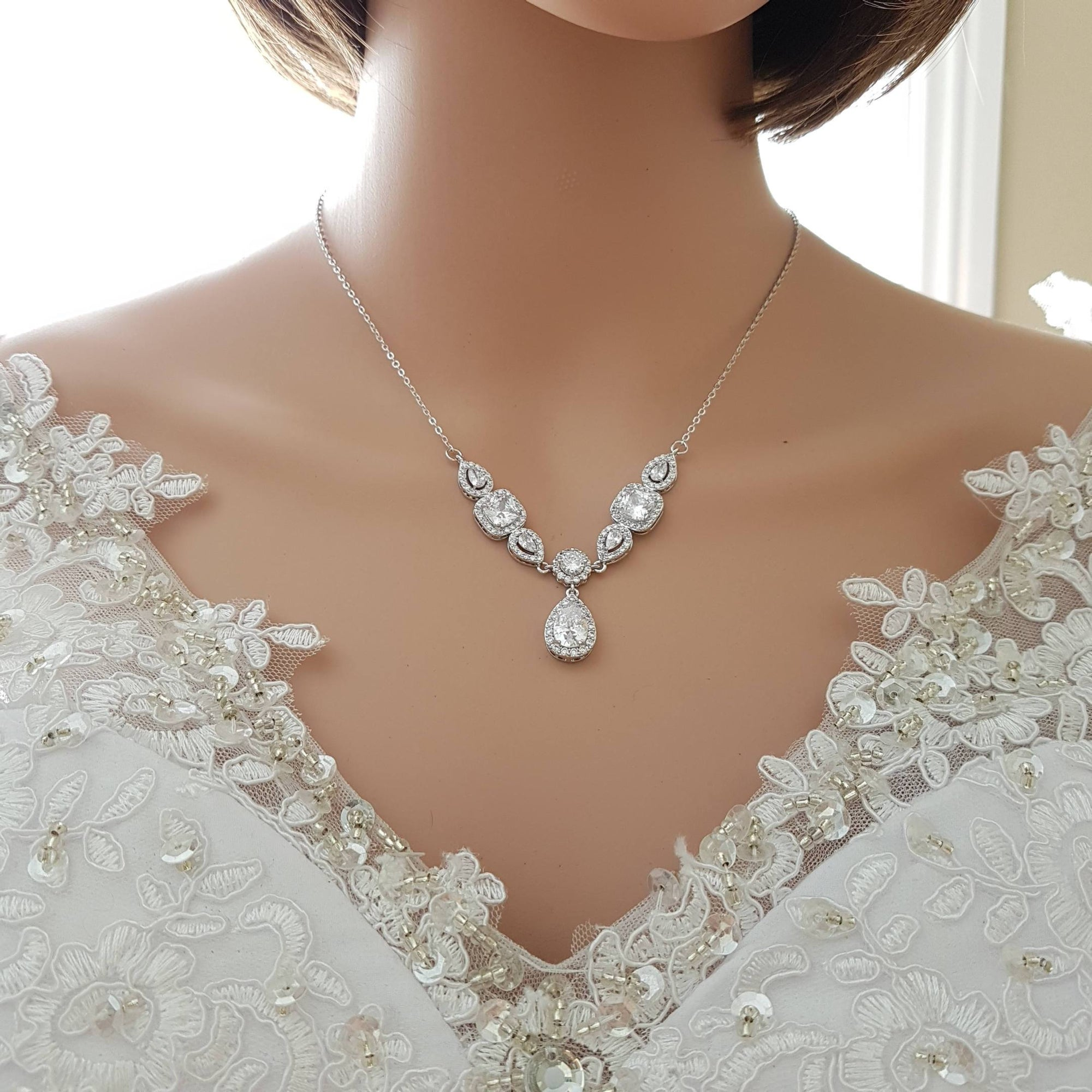 Bridal Drop Back Necklace- Gianna - PoetryDesigns