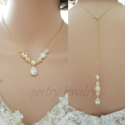 Gold and Cubic Zirconia Back Necklace for Low Back Dresses-Gianna