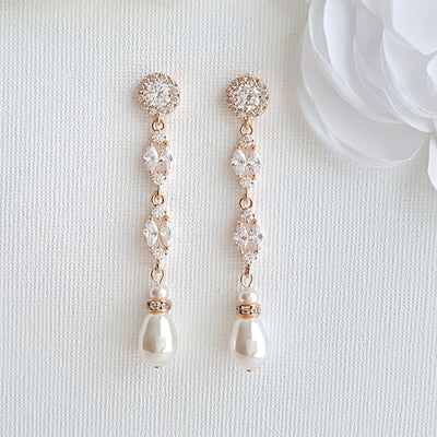 Long Rose Gold Pearl Drop Earrings- Hayley