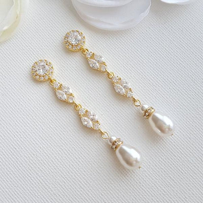 Gold Clip On Pearl Earrings