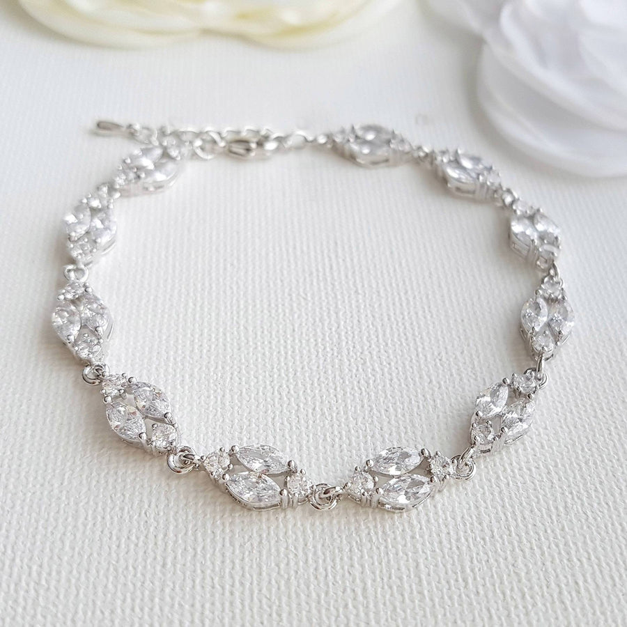 Wedding Bracelet for Bride Crystal Bridal Bracelet Rose Gold Bracelet Marquise Crystal Bracelet  Zirconia Bracelet Bridal Jewelry, Hayley