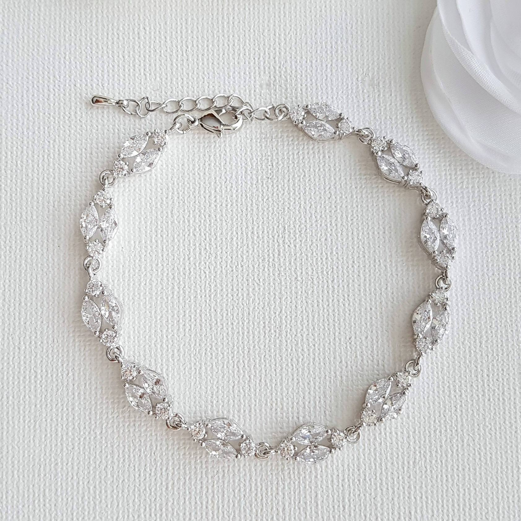 Marquise Silver Cubic Zirconia Bracelet for Bride- Hayley