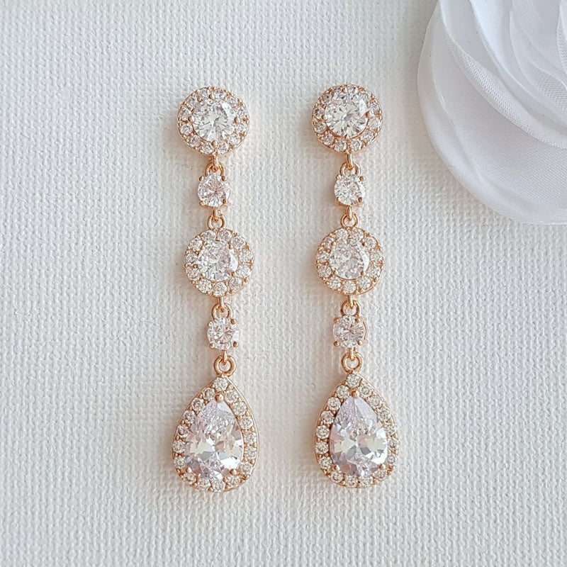 Rose Gold Clip On Earrings-Reagan