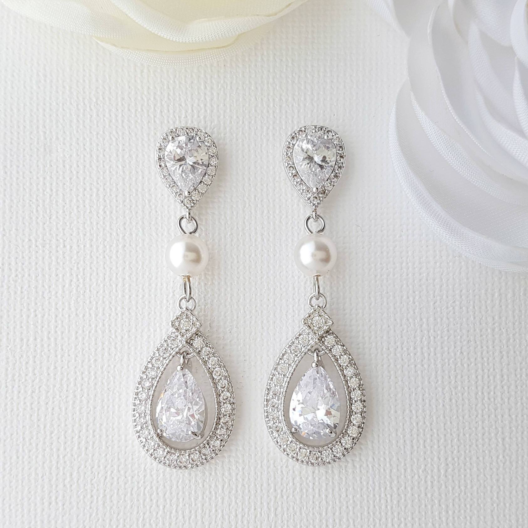 Clip On Wedding Earrings-Sarah - PoetryDesigns