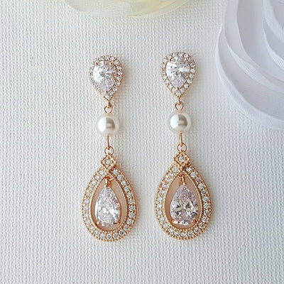 Crystal CLIP ON Wedding Earrings Bridal Earrings Cubic Zirconia Swarovski Pearl Rose Gold Halo Style Drop Earrings Bridal Jewelry, Sarah