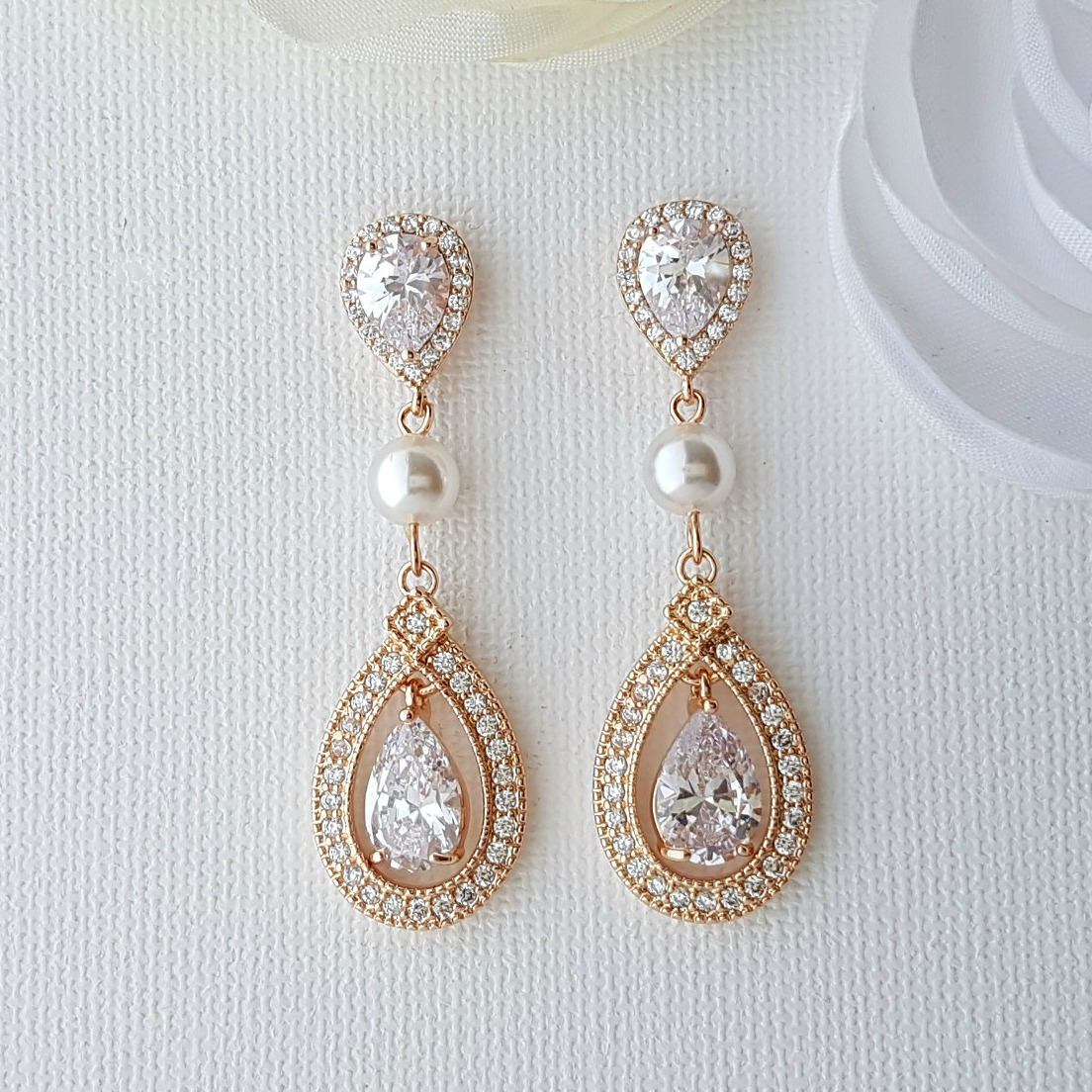 CZ Clip On Bridal Earrings in Rose Gold - Sarah - PoetryDesigns