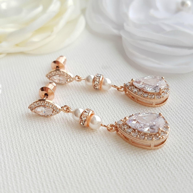 Rose Gold & Pearl Wedding Drop Earrings-Ella