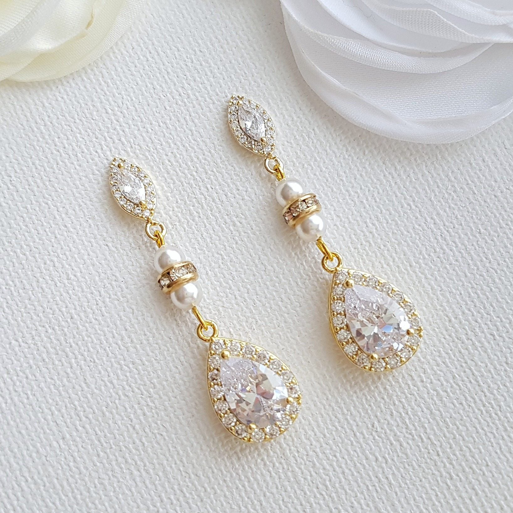 Wedding Earrings Gold Crystal Bridal Earrings Bridesmaid Earrings Drop Rose Gold Wedding Earrings Swarovski Pearls Wedding Jewelry, Ella