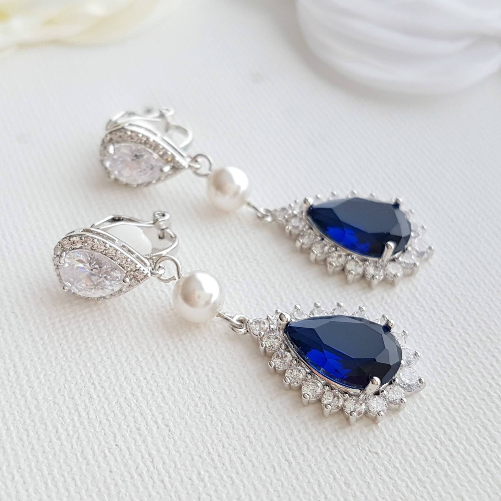 Poetry Designs- Blue Clip On Earrings-Aoi